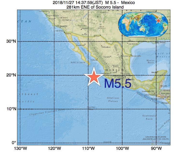 2018年11月27日 14時37分 - メキシコでM5.5