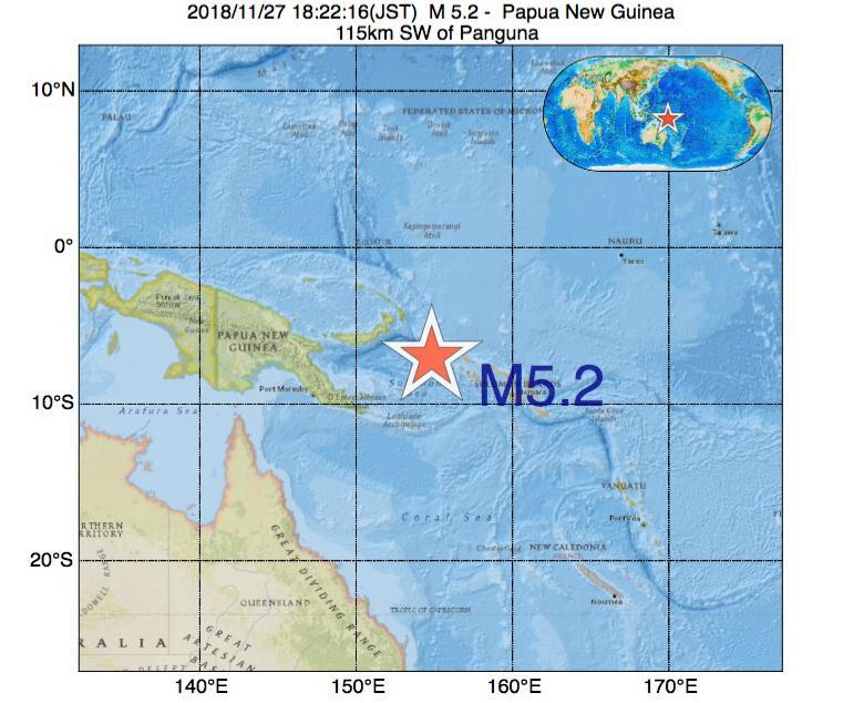 2018年11月27日 18時22分 - パプアニューギニアでM5.2