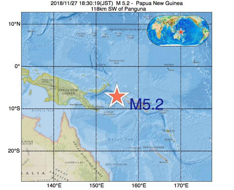 2018年11月27日 18時30分 - パプアニューギニアでM5.2