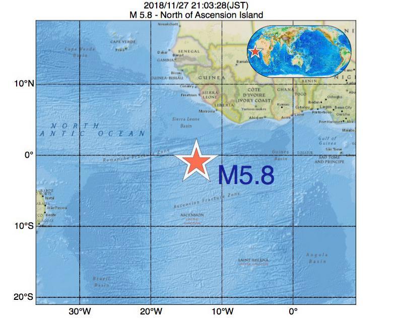 2018年11月27日 21時03分 - アセンション島でM5.8