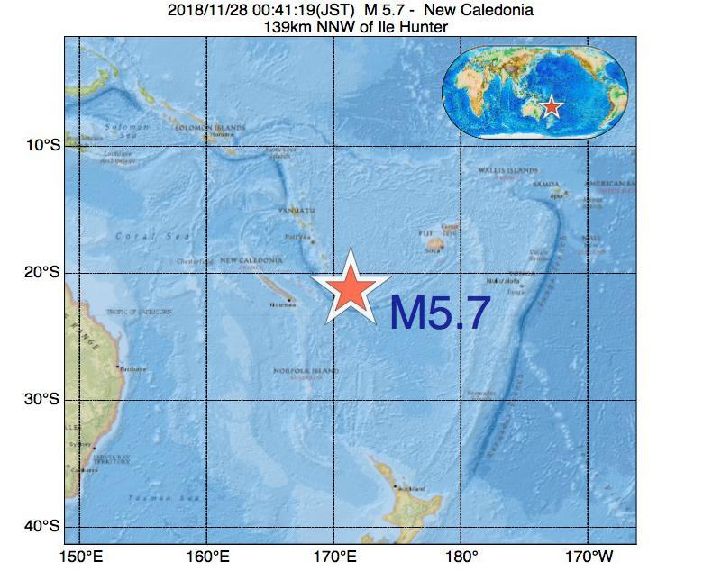 2018年11月28日 00時41分 - ニューカレドニアでM5.7