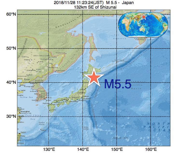 2018年11月28日 11時23分 - 日本でM5.5