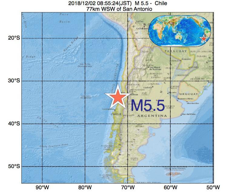 2018年12月02日 08時55分 - チリでM5.5