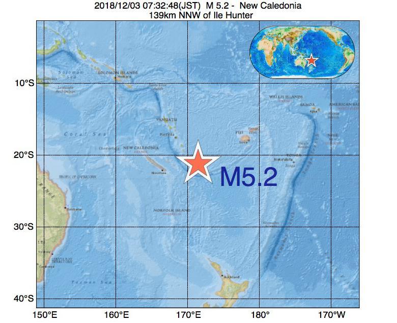 2018年12月03日 07時32分 - ニューカレドニアでM5.2