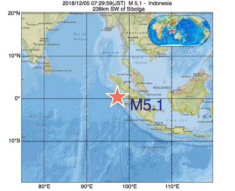 2018年12月05日 07時29分 - インドネシアでM5.1