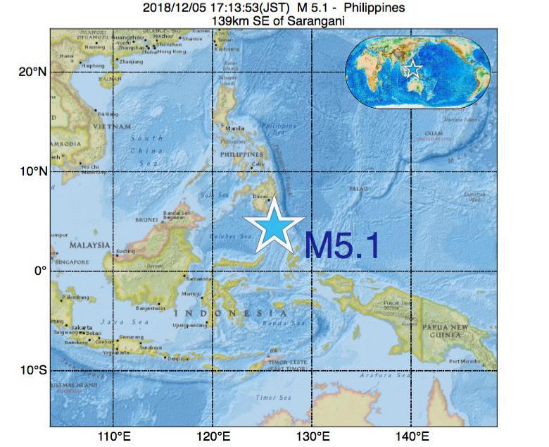 2018年12月05日 17時13分 - フィリピンでM5.1