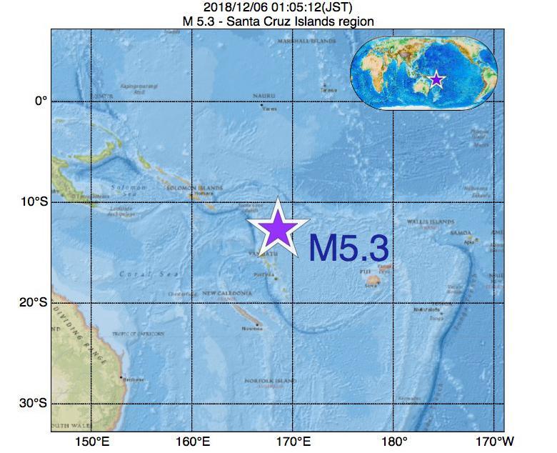 2018年12月06日 01時05分 - Santa Cruz Islands regionでM5.3