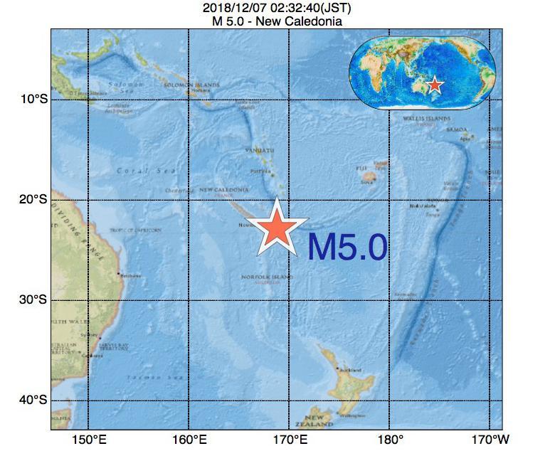 2018年12月07日 02時32分 - ニューカレドニアでM5.0
