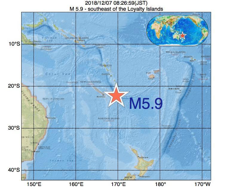 2018年12月07日 08時26分 - southeast of the Loyalty IslandsでM5.9