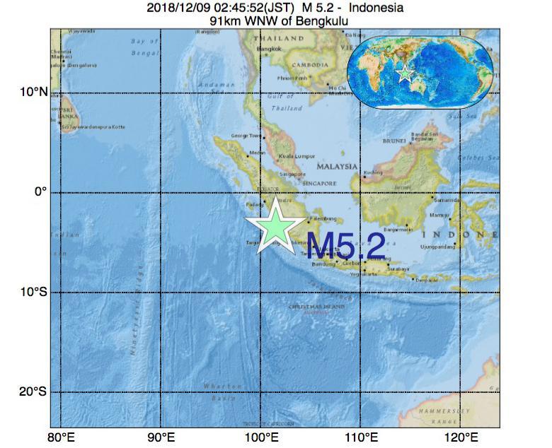 2018年12月09日 02時45分 - インドネシアでM5.2