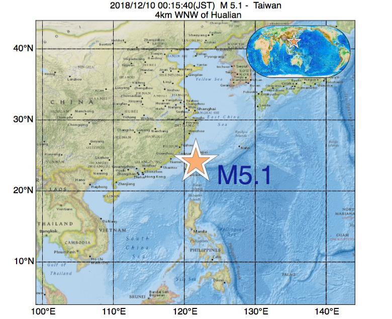 2018年12月10日 00時15分 - 台湾でM5.1