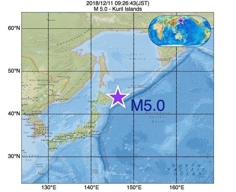 2018年12月11日 09時26分 - 千島列島でM5.0