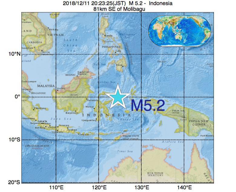 2018年12月11日 20時23分 - インドネシアでM5.2