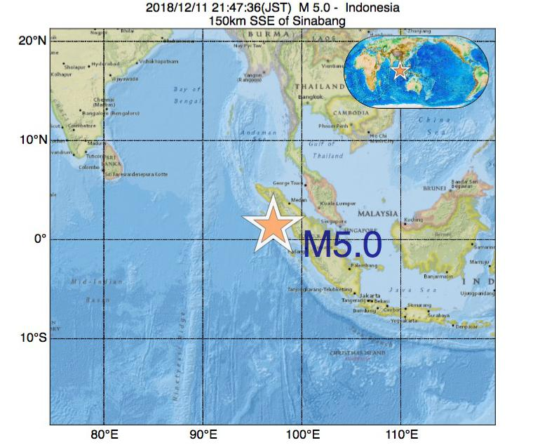 2018年12月11日 21時47分 - インドネシアでM5.0