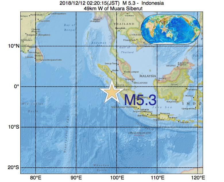 2018年12月12日 02時20分 - インドネシアでM5.3