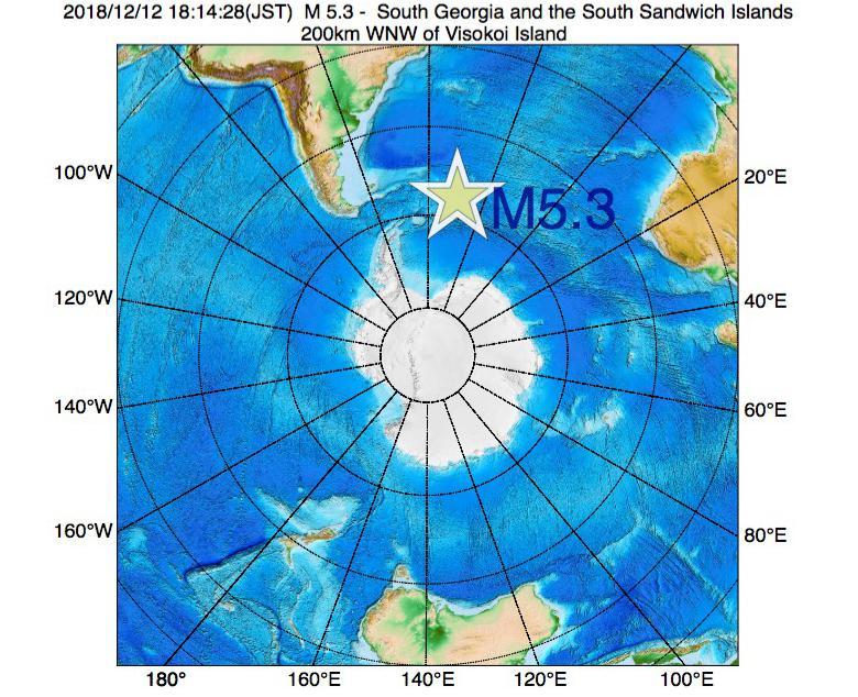 2018年12月12日 18時14分 - サウスサンドウィッチ諸島付近でM5.3