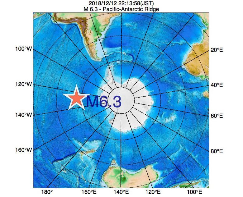 2018年12月12日 22時13分 - 太平洋南極海嶺でM6.3