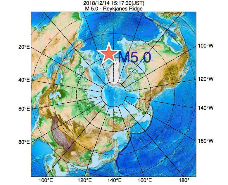 2018年12月14日 15時17分 - レイキャネス海嶺でM5.0