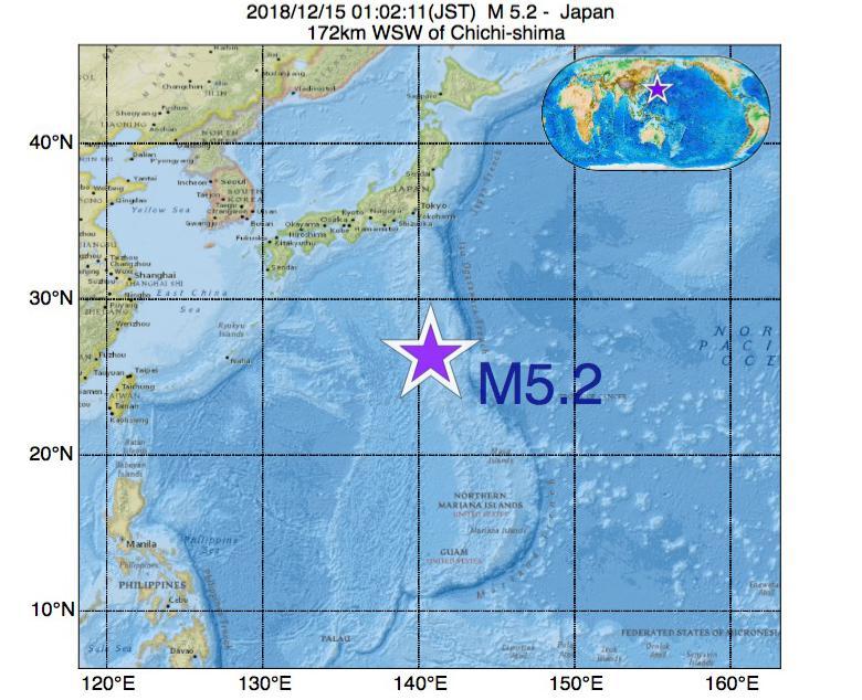 2018年12月15日 01時02分 - 日本でM5.2