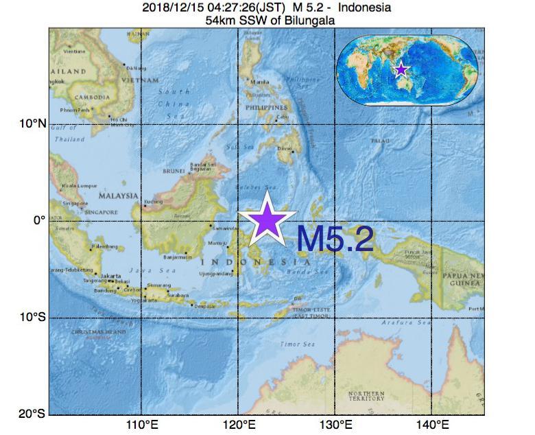 2018年12月15日 04時27分 - インドネシアでM5.2