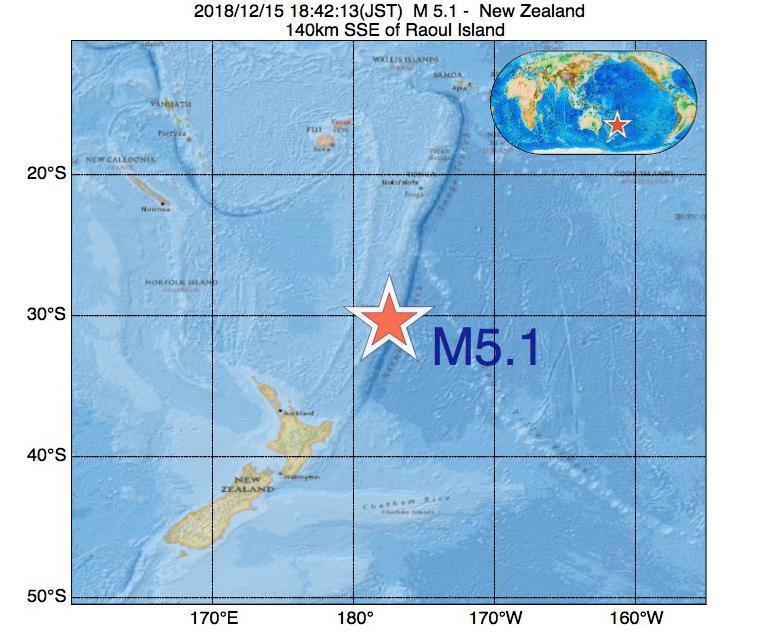 2018年12月15日 18時42分 - ニュージーランドでM5.1