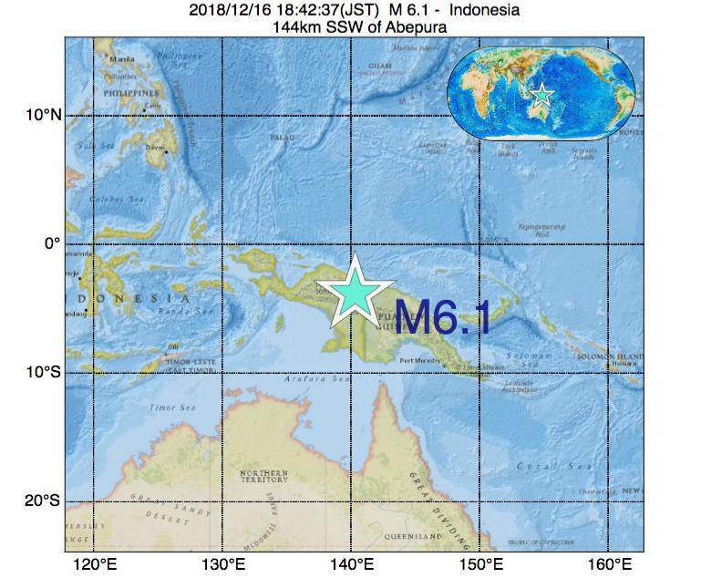 2018年12月16日 18時42分 - インドネシアでM6.1