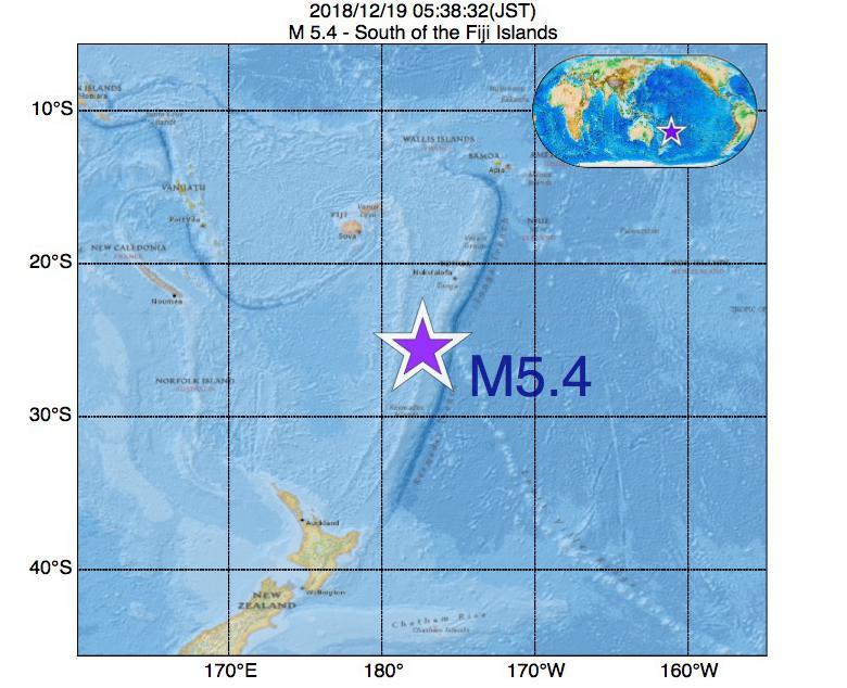 2018年12月19日 05時38分 - フィジー諸島の南でM5.4