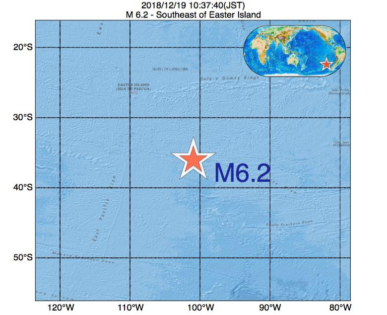 2018年12月19日 10時37分 - イースター島の南東でM6.2