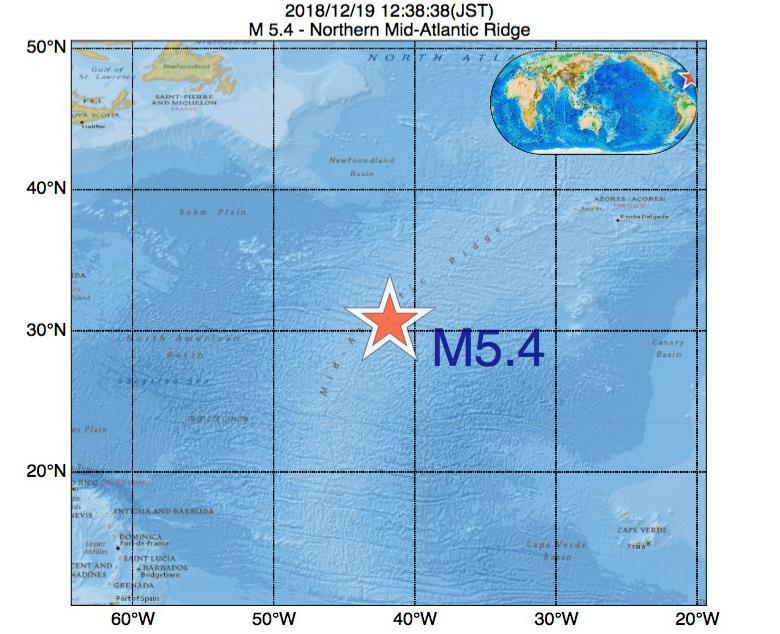 2018年12月19日 12時38分 - 大西洋中央海嶺北部でM5.4