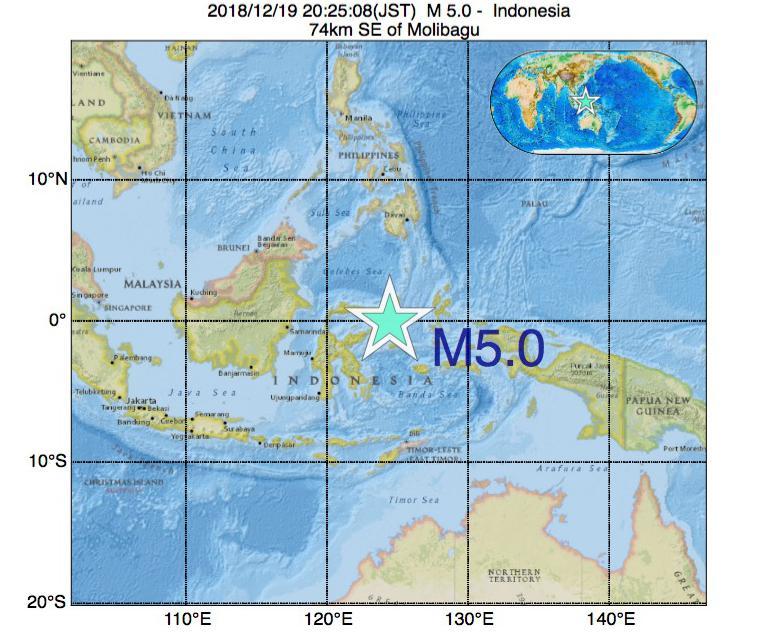 2018年12月19日 20時25分 - インドネシアでM5.0