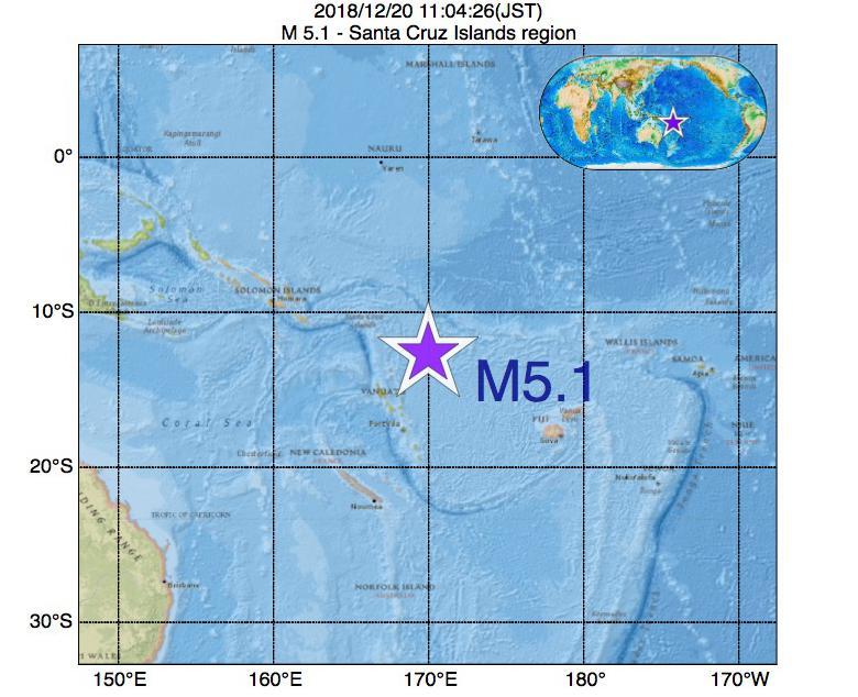 2018年12月20日 11時04分 - Santa Cruz Islands regionでM5.1