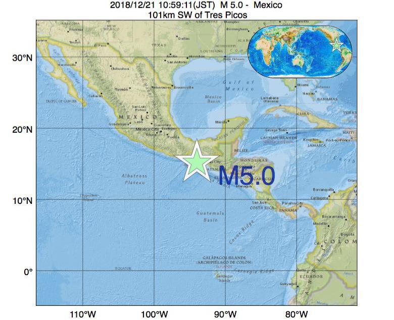 2018年12月21日 10時59分 - メキシコでM5.0