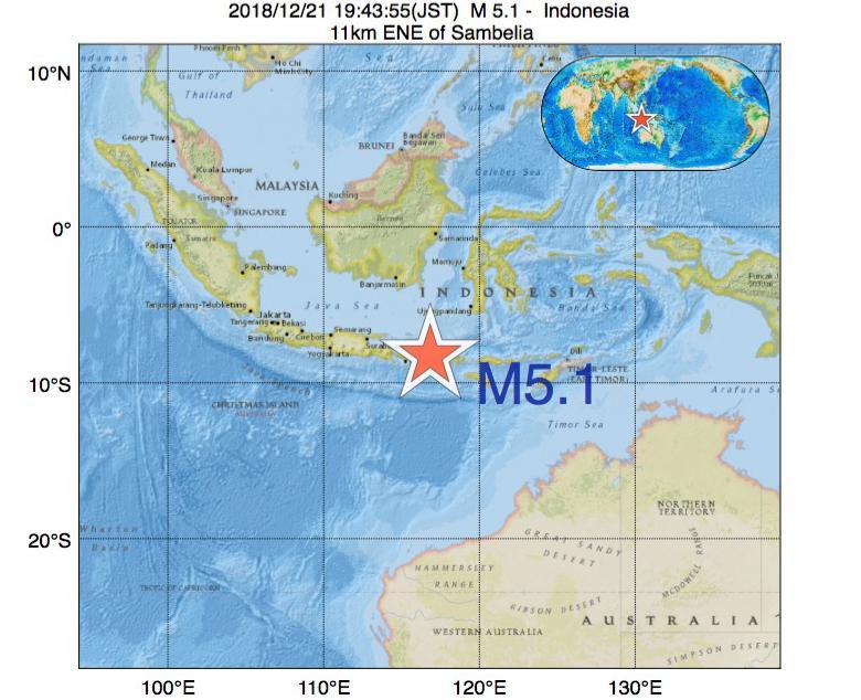 2018年12月21日 19時43分 - インドネシアでM5.1
