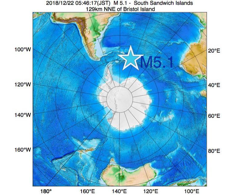2018年12月22日 05時46分 - サウスサンドウィッチ諸島付近でM5.1