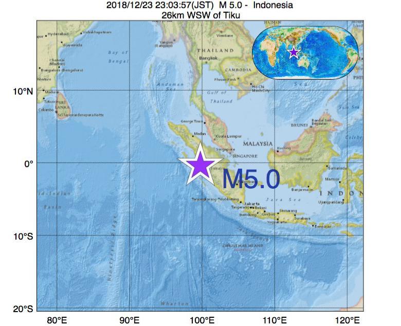 2018年12月23日 23時03分 - インドネシアでM5.0