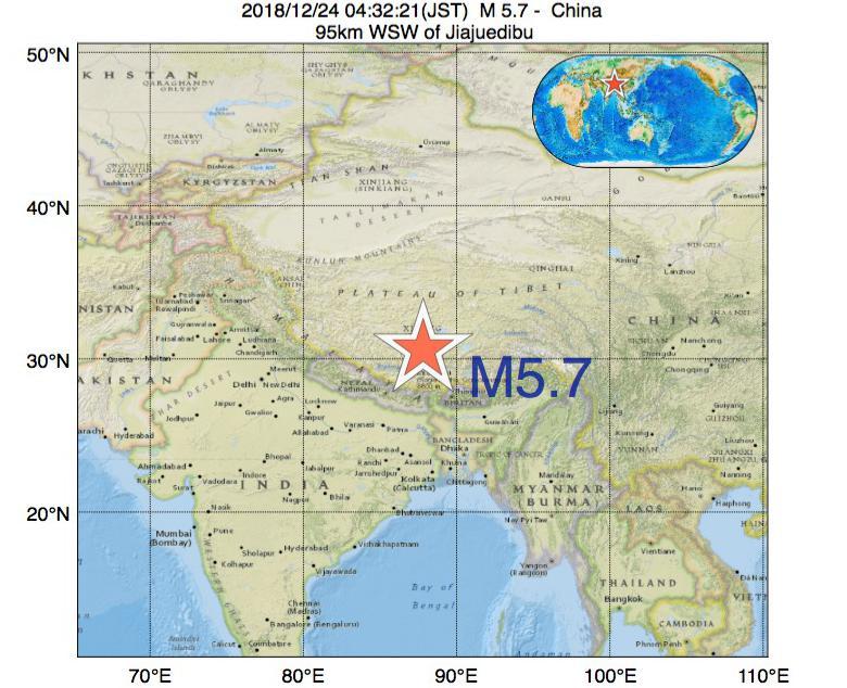 2018年12月24日 04時32分 - 中国でM5.7