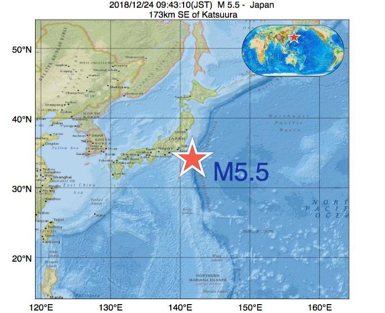 2018年12月24日 09時43分 - 日本でM5.5