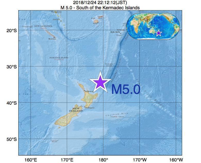 2018年12月24日 22時12分 - ケルマディック諸島の南でM5.0