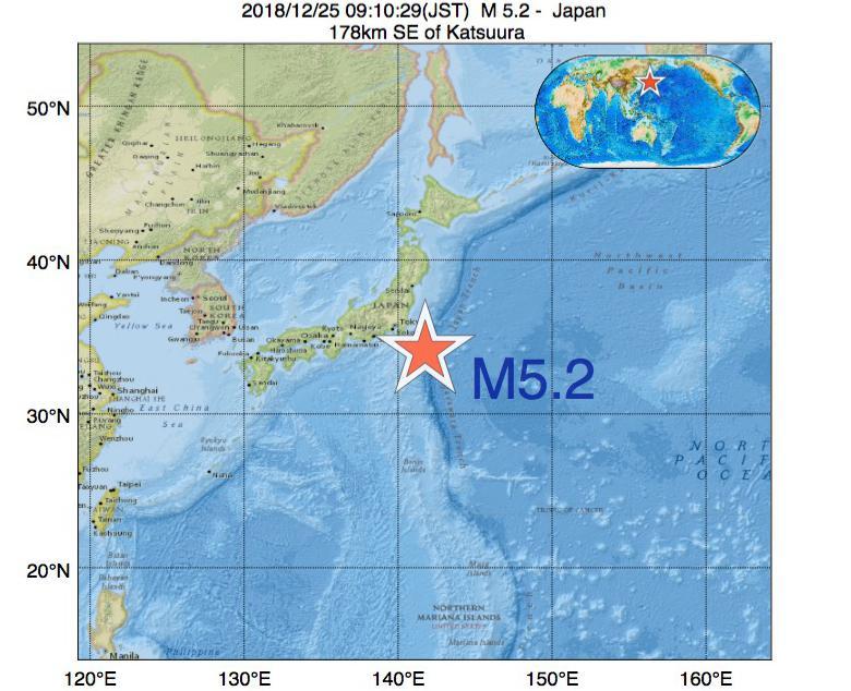 2018年12月25日 09時10分 - 日本でM5.2