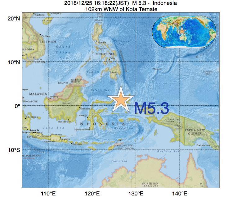 2018年12月25日 16時18分 - インドネシアでM5.3