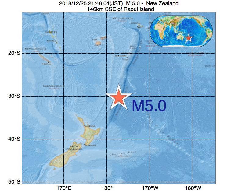 2018年12月25日 21時48分 - ニュージーランドでM5.0