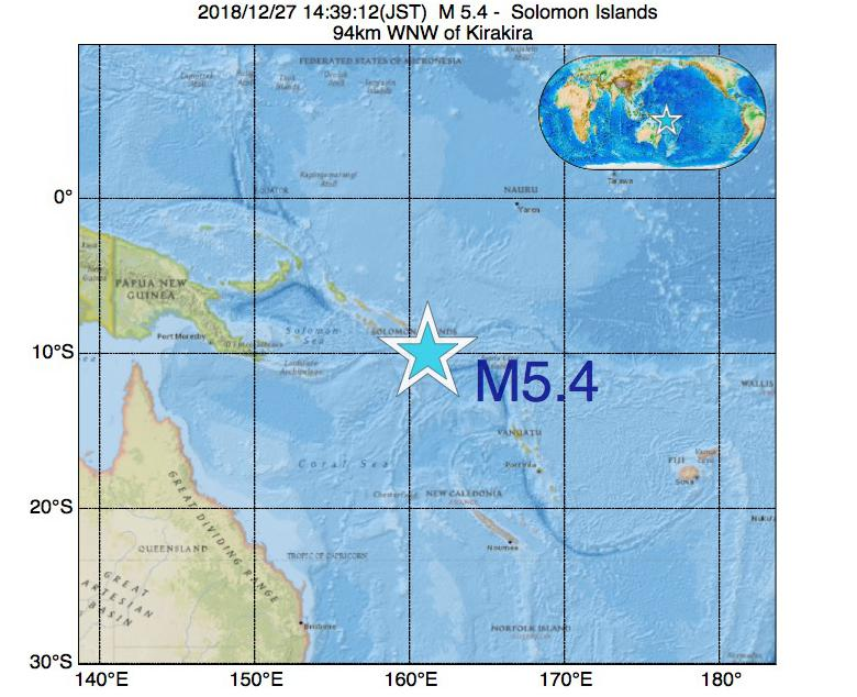 2018年12月27日 14時39分 - ソロモン諸島でM5.4