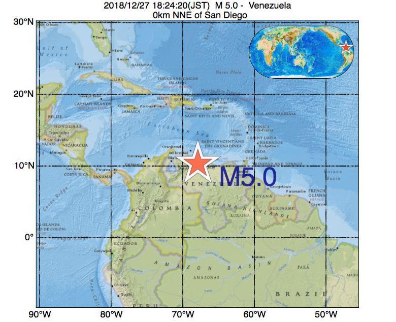 2018年12月27日 18時24分 - ベネズエラでM5.0