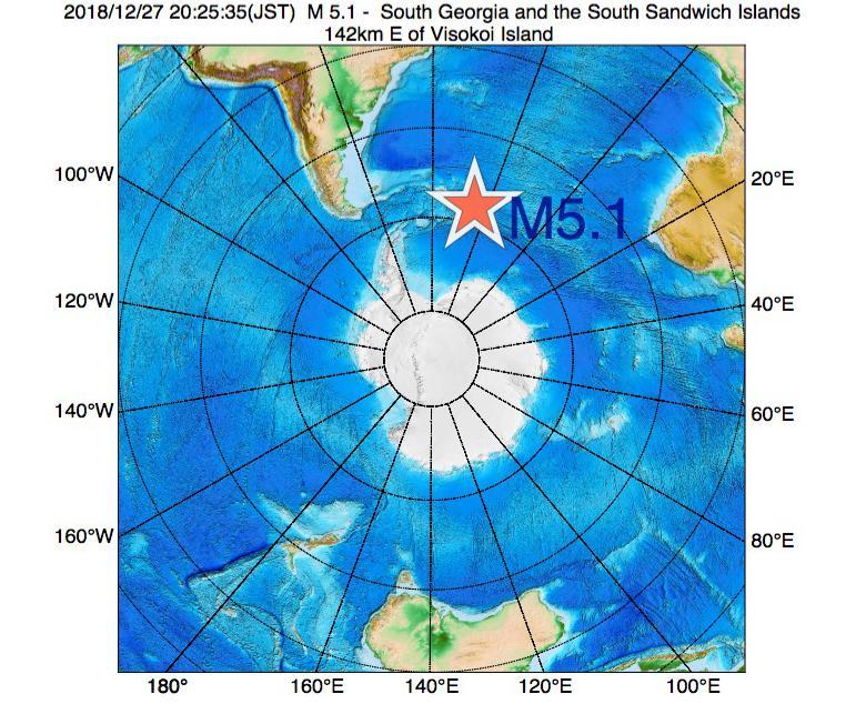2018年12月27日 20時25分 - サウスサンドウィッチ諸島付近でM5.1