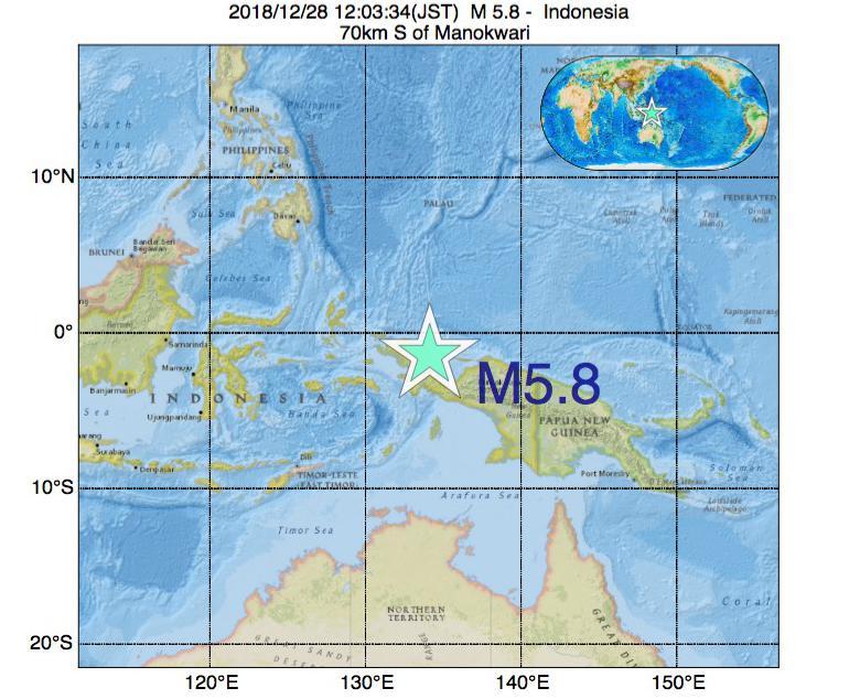 2018年12月28日 12時03分 - インドネシアでM5.8