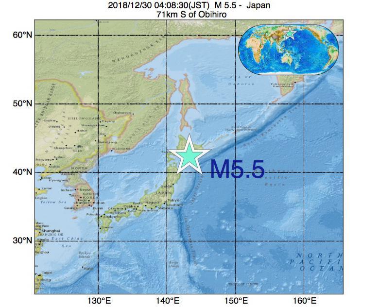 2018年12月30日 04時08分 - 日本でM5.5