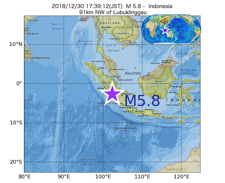 2018年12月30日 17時39分 - インドネシアでM5.8