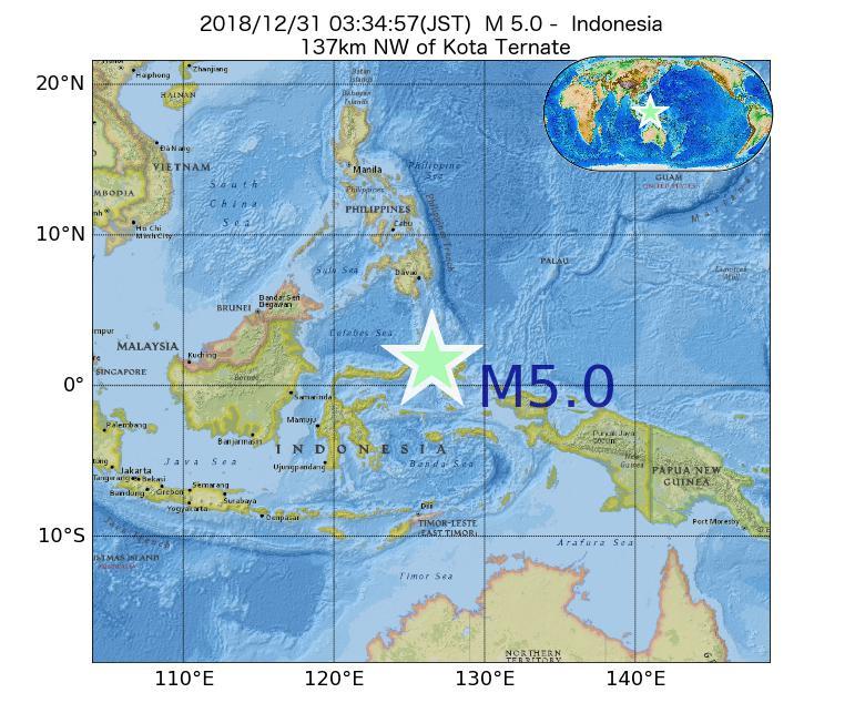 2018年12月31日 03時34分 - インドネシアでM5.0