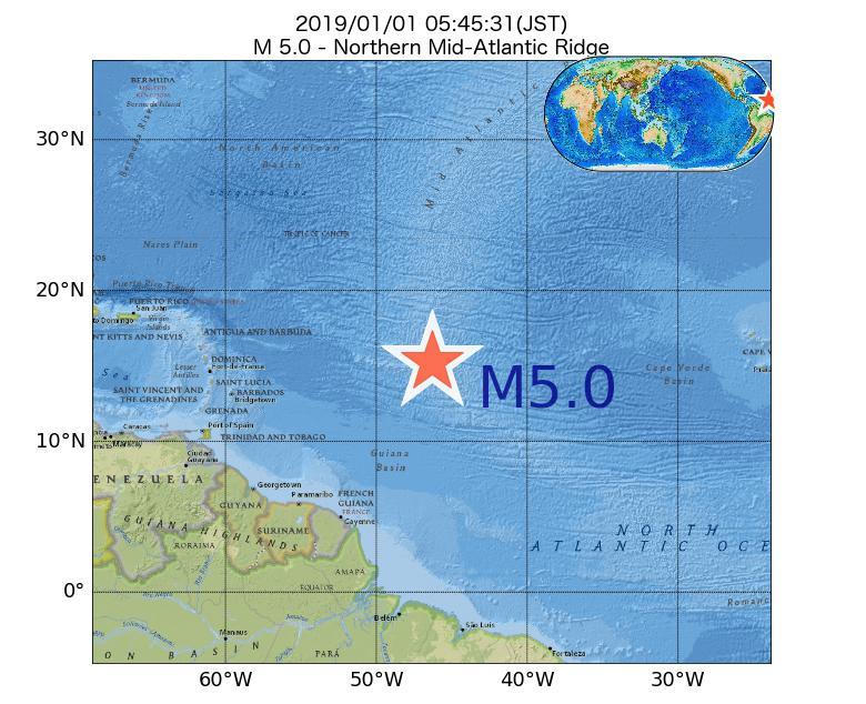 2019年01月01日 05時45分 - 大西洋中央海嶺北部でM5.0