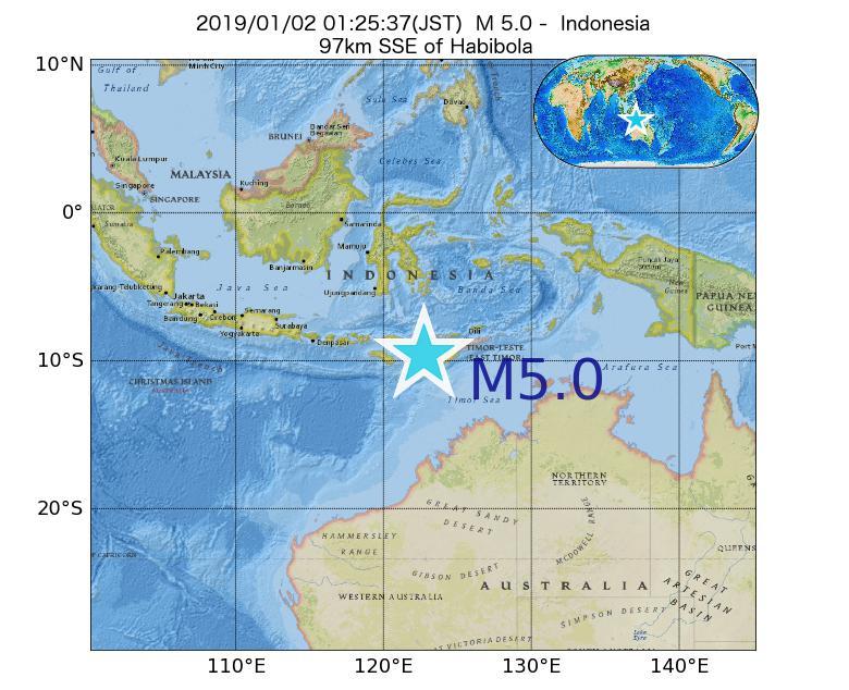 2019年01月02日 01時25分 - インドネシアでM5.0